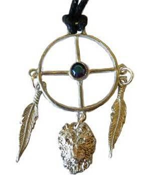 Wolf Medicine Wheel Amulet
