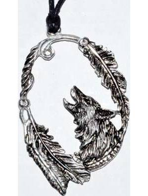 """Wolf with Feathers amulet 3 1/4"""""""