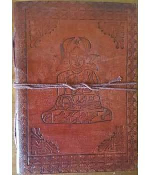 """5"""" x 7"""" Buddha leather blank book w/cord"""