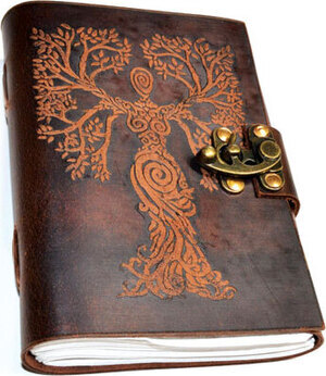 Tree Woman leather blank book w/ latch