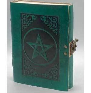 green Pentagram leather blank book w/ latch