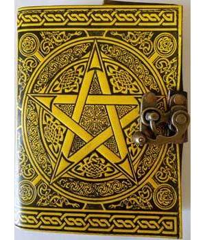 Black & Yellow Leather Blank Journal (Pentagram)