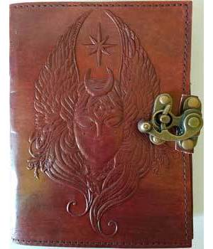 Moon Goddess Leather Blank Book with Latch