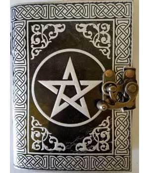 Black & Silver Leather Blank Journal (Pentagram)