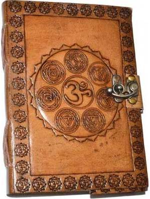 "5"" x 7"" 7 Chakra Embossed leather w/ latch"