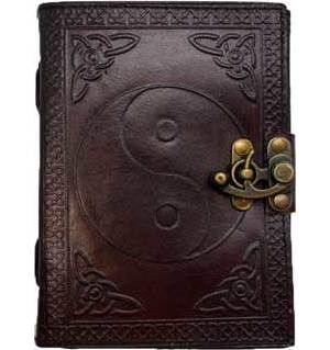 Ying Yang leather blank book w/ latch