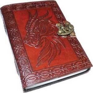Celtic Dragon leather blank book w/ latch