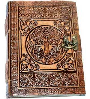 """5"""" x 7"""" Tree of Life Embossed leather w/ cord"""