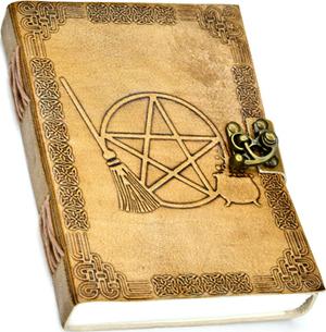 "5"" x 7"" Broom Pentagram Embossed leather w/ latch"