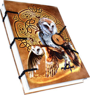 "Celtic Owl journal 4 1/2"" x 6 1/2"" handmade parchment"