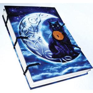 "Midnight Moon Cat journal 4 1/2"" x 6 1/2"" handmade parchment"