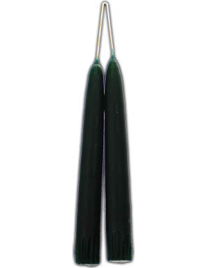 Dark Green Taper Candle Pair 7""