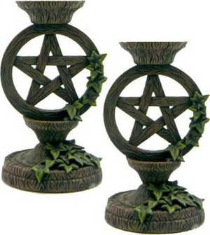 """Pentagram Taper Candle Holder Set 5 1/2"""""""