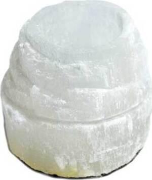 """2 1/2"""" Selenite Iceberg tealight holder"""