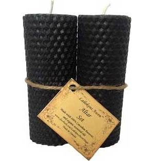 Set of Two Black Pillar Candles 4 1/4""