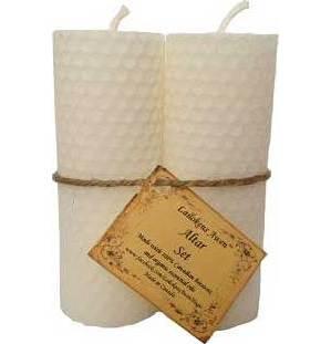 "Set of Two White Pillar Candles 4 1/4"""
