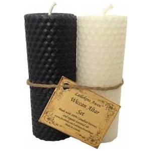 Set of Black and White Pillar Candles