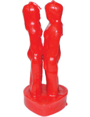 """7"""" Red Face to Face Lover candle"""
