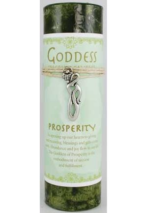 Prosperity Pillar Candle with Goddess