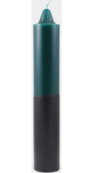 "Green/Black Pillar Candle 9"""