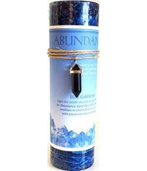 Abundance Pillar Candle with Blue Sandstone Pendant