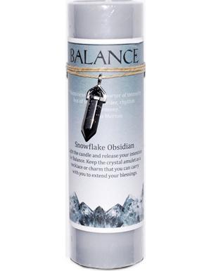 Balance pillar candle with Snowflake Obsidian pendant