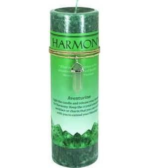 Harmony pillar candle with Aventurine pendant