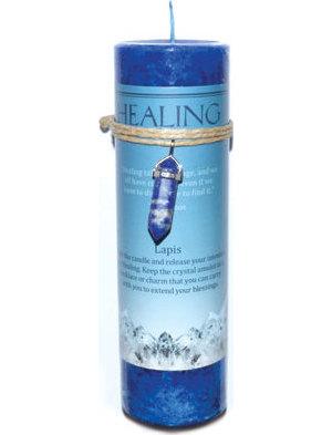 Healing Pillar Candle with Lapis Pendant