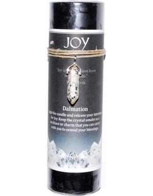Joy pillar candle with Dalmation Jasper pendant