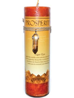 Prosperity Pillar Candle with Tiger Eye Pendant