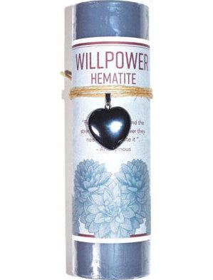 Willpower pillar candle with Hematite heart