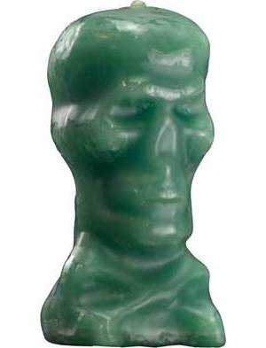 Green Skull Candle 5""