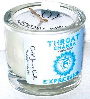 Throat chakra soy votive candle