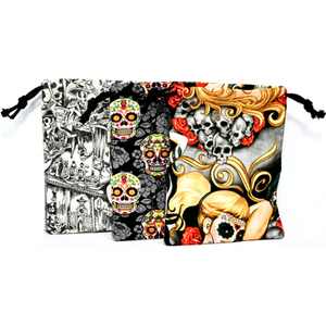 "Bones & Flowers tarot bag 6"" x 9"""