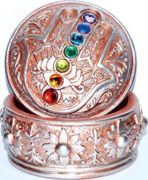 Hamsa with Chakra Stones Box