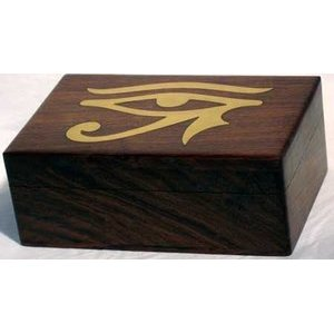 "Brass Inlaid Eye of Horus Box 4""X6"""