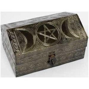 "Triple Moon Pentagram Box 4"" x 6"""