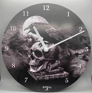 """13"""" Alchemy Skull& Raven clock"""