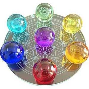 55mm 7 Chakra Flower of Life set Crystal balls