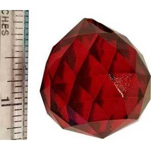30mm Red Faceted Crystal Ball