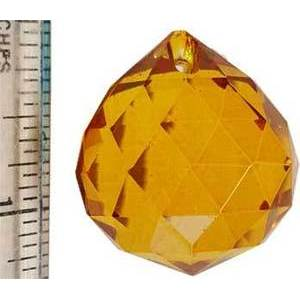 30mm Amber Faceted Crystal Ball