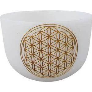 "20"" White Flower of Life Crystal Singing Bowl"