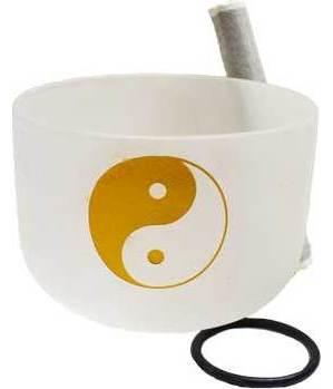"""20"""" White Yin Yang Crystal Singing Bowl"""