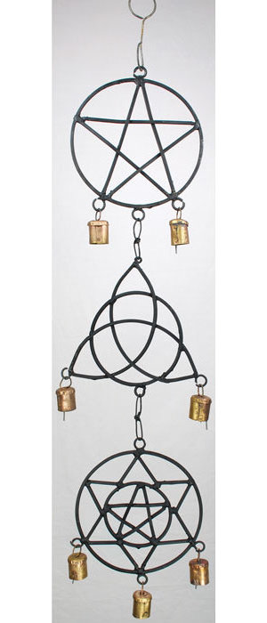 Pentagram, Triquetra, Solomon's Seal Wind Chime 5""