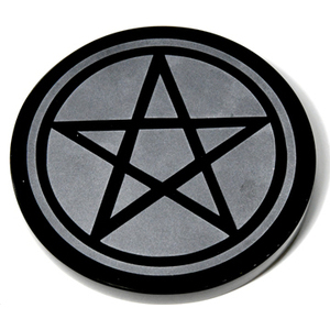 "4"" Obsidian, Black Pentagram altar tile"