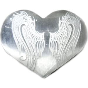 """3"""" Selenite heart , Angel Wings"""