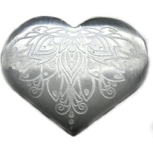 """3"""" Selenite heart , Lotus"""