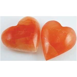 Orange Selenite Heart 2""