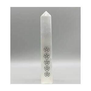 "6-7"" Pentagram Selenite obelisk"
