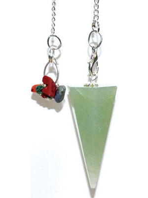 Aventurine, Green 7 Chakra 6 sided pendulum
